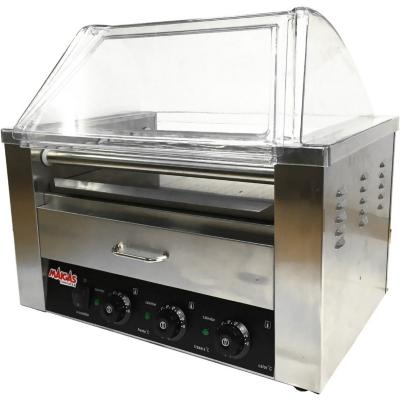 Parrilla Hot-Dog 9 Roller industrial con Cabina gris