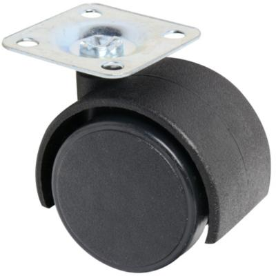 Rueda con placa giratoria para mueble 40 mm