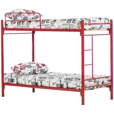 Camarote metal alfa 1.5 plazas rojo+2 colchones+textil