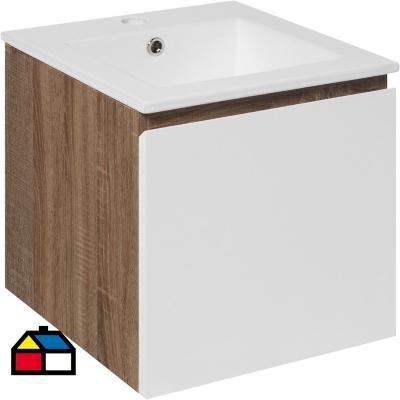 Mueble new york 41x41x41 cm dark pine/white con lavamanos
