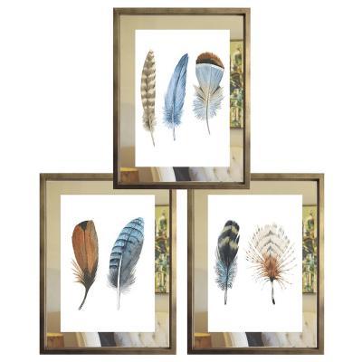 Set 3 cuadros 40x50 cm marco  paspartu de espejo plumas