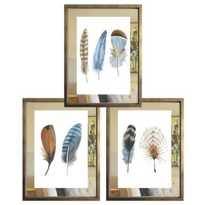 Set 3 cuadros 30x40 cm marco  paspartu de espejo plumas