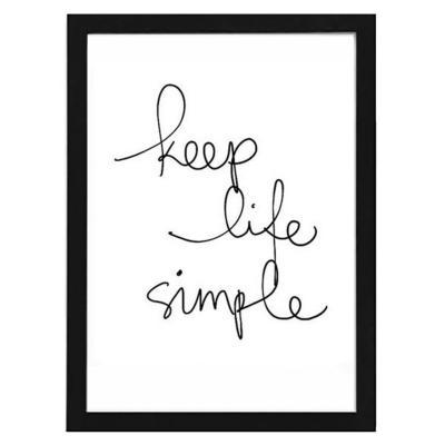 Cuadro 40x50 cm marco negro frase keep life simple
