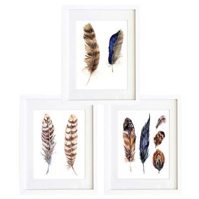 Set 3 cuadros 30x40 cm marco  plumas etnico