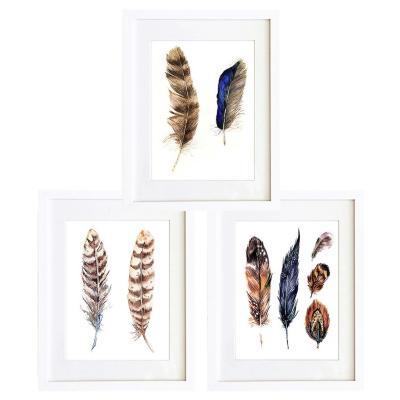 Set 3 cuadros 40x50 cm marco  plumas etnico