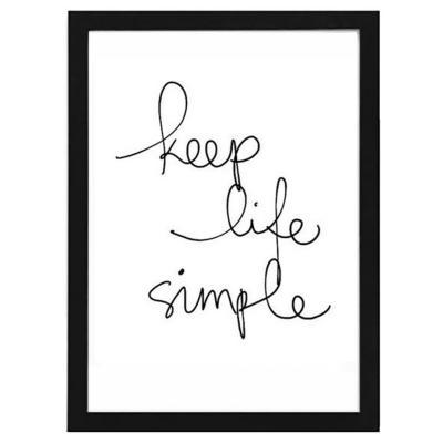 Cuadro 30x40 cm marco  frase keep life simple