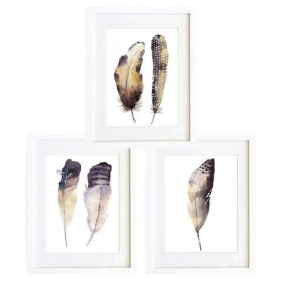 Set 3 cuadros 40x50 cm marco  plumas acuarelado