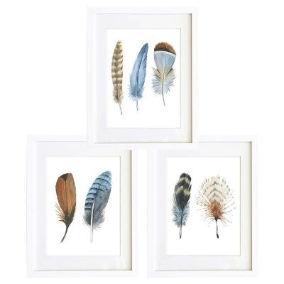Set 3 cuadros 30x40 cm marco  plumas café y azul