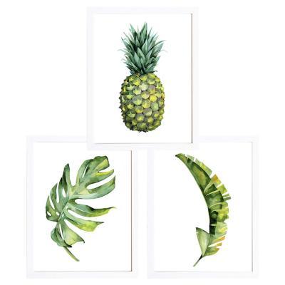 Set 3 cuadros 40x50 cm marco  piña y hojas tropicales