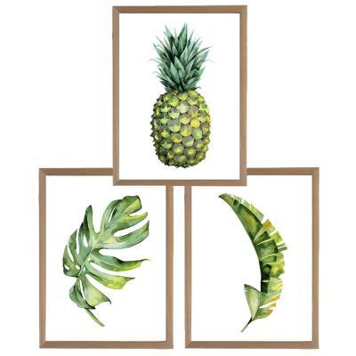 Set 3 cuadros 30x40 cm marco  piña y hojas tropicales