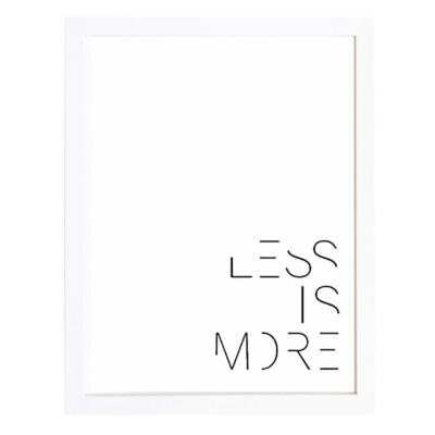 Cuadro 30x40 cm marco  frase less is more