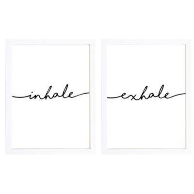 Cuadro 30x40 cm marco  frase inhale exale