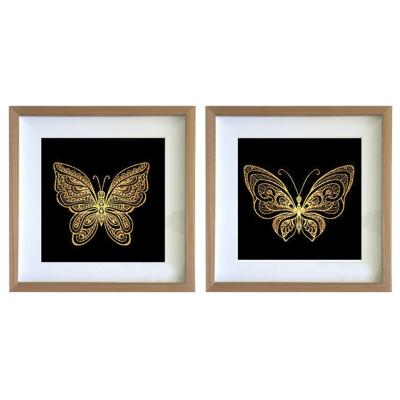 Set 2 cuadros 40x40 cm marco  mariposa