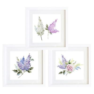 Set 3 cuadros 40x40 cm marco   flores