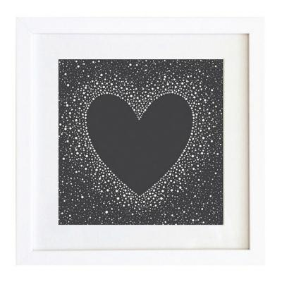 Cuadro 40x40 cm marco  corazón negro