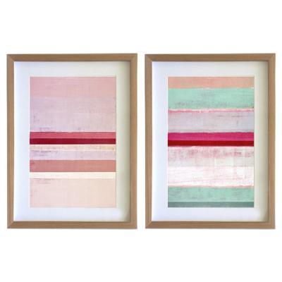 Set 2 cuadros 30x40 cm marco madera abstracto rosa