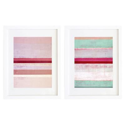 Set 2 cuadros 40x50 cm marco  abstracto rosa