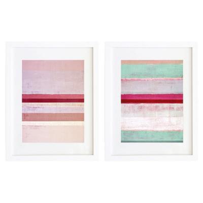 Set 2 cuadros 30x40 cm marco  abstracto rosa