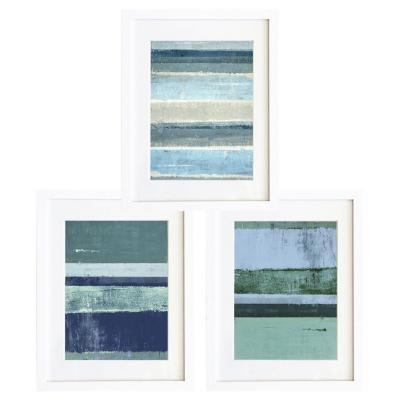 Set 3 cuadros 30x40 cm marco  abstracto azul