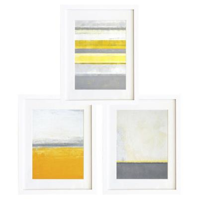 Set 3 cuadros 30x40 cm marco  abstracto amarillo