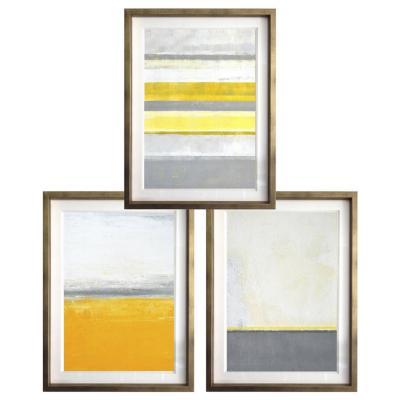 Set 3 cuadros 30x40 cm marco dorado abstracto amarillo