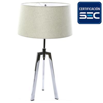 Lámpara de mesa treo cromo con pantalla tela cruda E27 40W