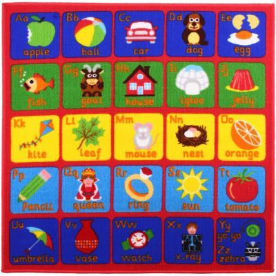 Alfombra Abecedario 100x100 cm multicolor