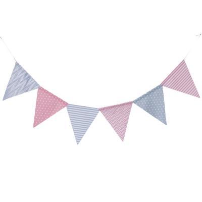 Banderín bebe gris rosa