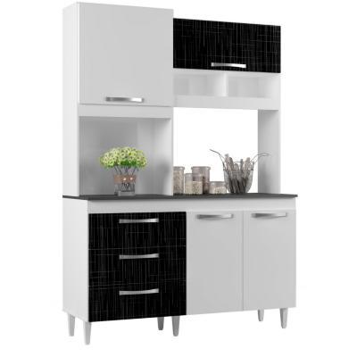 Kit mueble cocina 135x195x47 cm negro