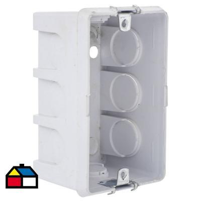 Caja de Distribución p/ concreto Soporte Metálico color Blanca 94x68,5 mm PVC embutida