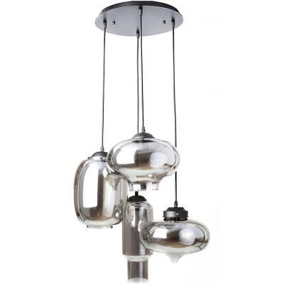 Lámpara de colgar vidrio ámbar 4 luces E27 40W