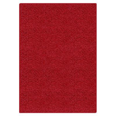 Alfombra shaggy lisa 120x170 cm rojo