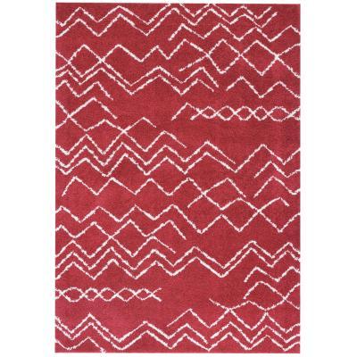 Alfombra shaggy Jacinta ondas 160x230 cm rojo