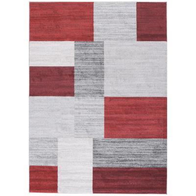 Bajada de cama Kurt rectángulos 80x120 cm rojo