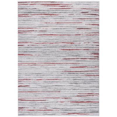 Bajada de cama Kurt líneas 80x120 cm rojo
