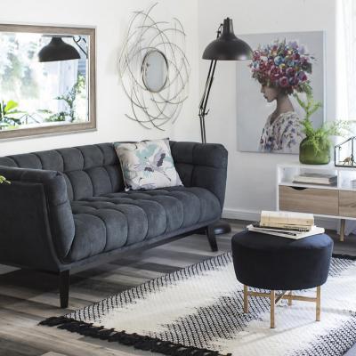 Alfombra ikat 140x200 cm negro