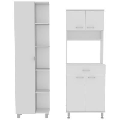 Set Mueble Microondas + Despensa kitchen 7 Blanco