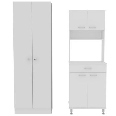 Set Mueble Microondas + Despensa kitchen 8 Blanco