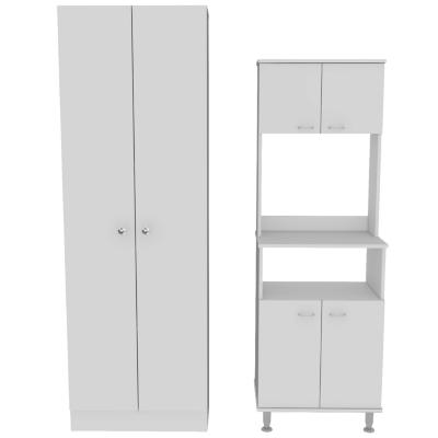 Set Mueble Microondas + Despensa kitchen 5 Blanco
