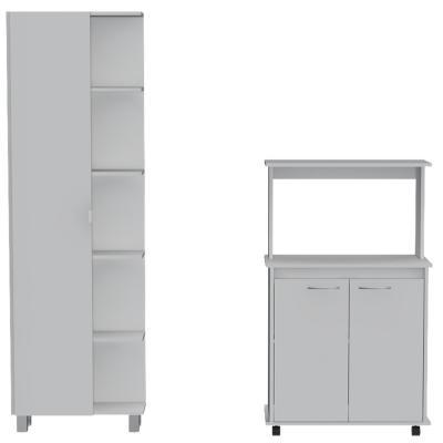 Set Mueble Microondas + Despensa kitchen 1 Blanco