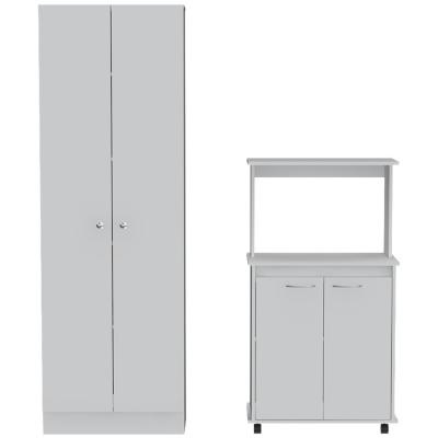 Set Mueble Microondas + Despensa kitchen 2 Blanco