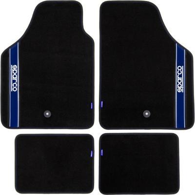 Piso de alfombra para auto negro/azul