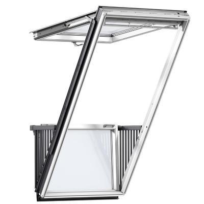 Combo ventana balcón p1-p2 + cerco ondulado + cortina beige sk10 - S04