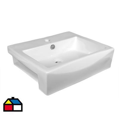 Lavamanos omicrom semi empotrado blanco 57x46x15 cm