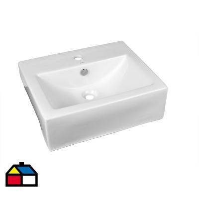 Lavamanos san semiempotrar blanco 55x43x16 cm