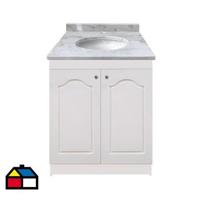 Vanitorio mármol  puertas lacadas blanco 80x50x87 cm