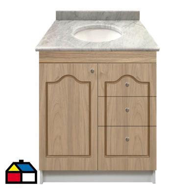 Vanitorio mármol 1 puerta 3 cajones madera 80x50x87 cm PMA