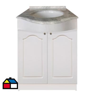 Vanitorio mármol curvo puertas lacadas blancas 62x50x87 cm