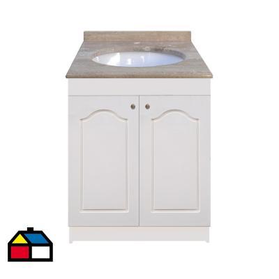 Vanitorio mármol puertas lacadas blancas 62x50x87 cm