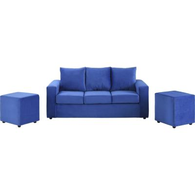 Sofá 3 cuerpos + 2 pouf azul rey